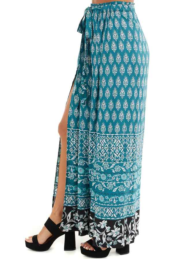 Deep Teal Patterned Wide Leg Pants with Front Slits side view