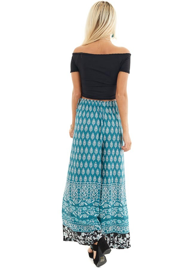 Deep Teal Patterned Wide Leg Pants with Front Slits back full body