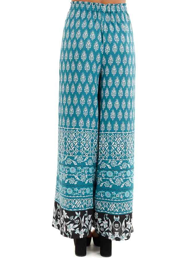 Deep Teal Patterned Wide Leg Pants with Front Slits back view