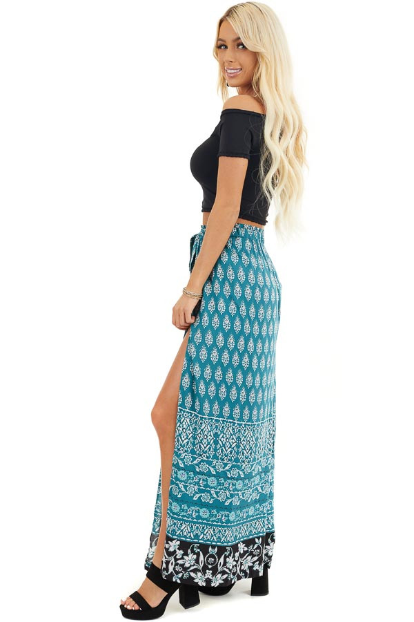 Deep Teal Patterned Wide Leg Pants with Front Slits side full body