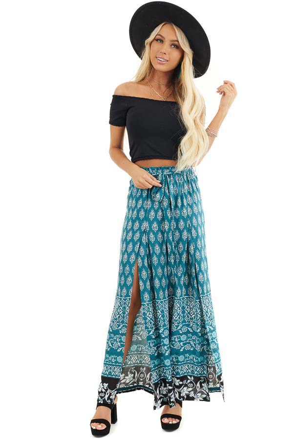 Deep Teal Patterned Wide Leg Pants with Front Slits front full body