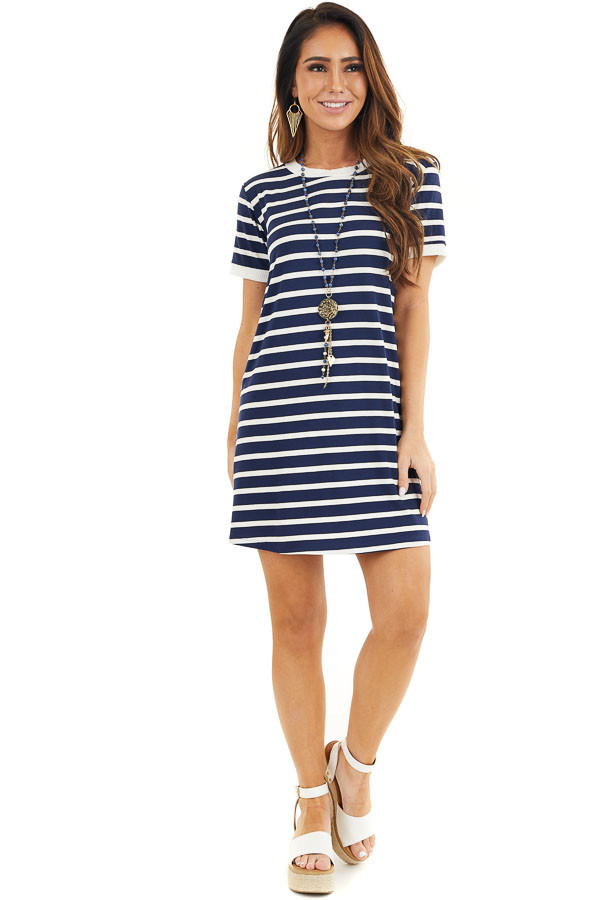 Navy Blue and Off White Striped Dress with Short Sleeves front full body