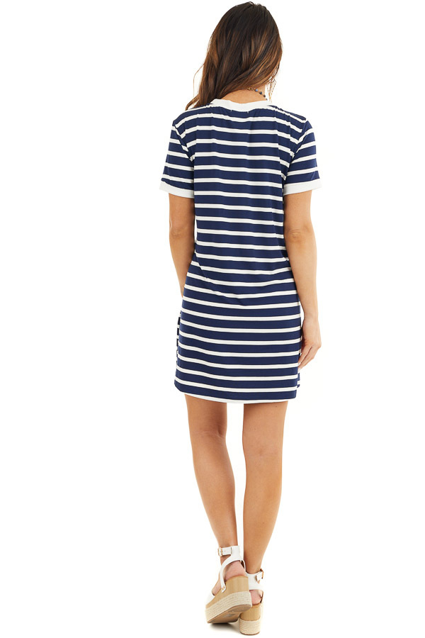 Navy Blue and Off White Striped Dress with Short Sleeves back full body