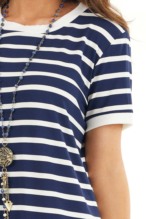 Navy Blue and Off White Striped Dress with Short Sleeves detail