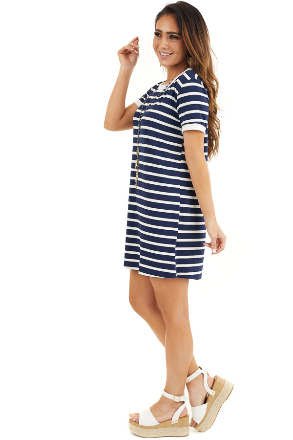 Navy Blue and Off White Striped Dress with Short Sleeves side full body