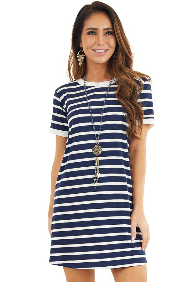 Navy Blue and Off White Striped Dress with Short Sleeves front close up