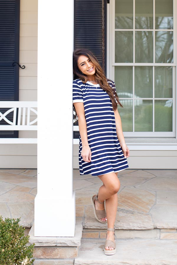 Navy Blue and Off White Striped Dress with Short Sleeves