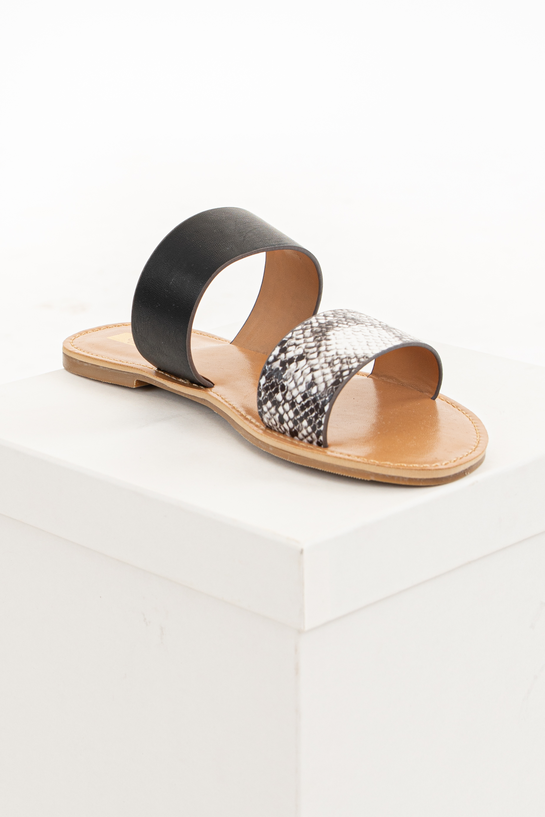 Black and Snake Print Faux Leather Strappy Slip On Sandal