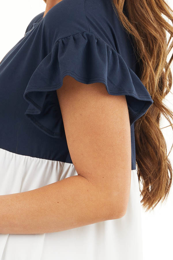 Navy and Dusty Blush Color Block Dress with Ruffle Details detail