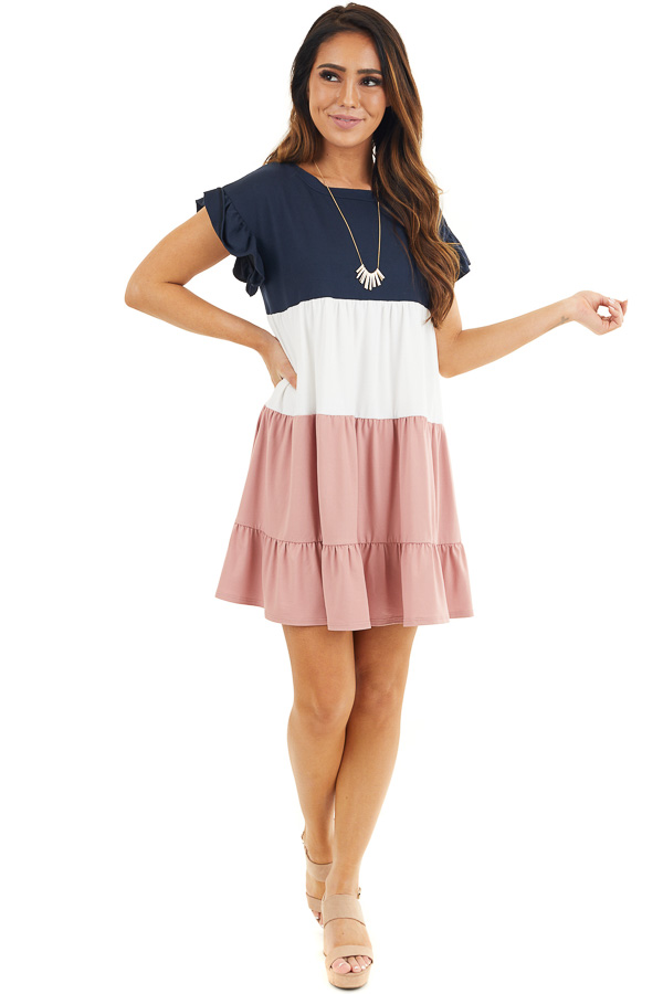 Navy and Dusty Blush Color Block Dress with Ruffle Details front full body