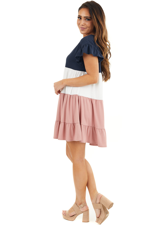 Navy and Dusty Blush Color Block Dress with Ruffle Details side full body