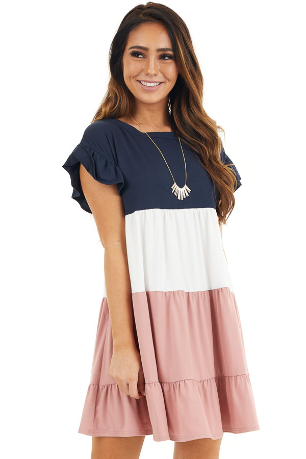 Navy and Dusty Blush Color Block Dress with Ruffle Details front close up