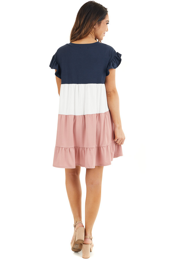 Navy and Dusty Blush Color Block Dress with Ruffle Details back full body