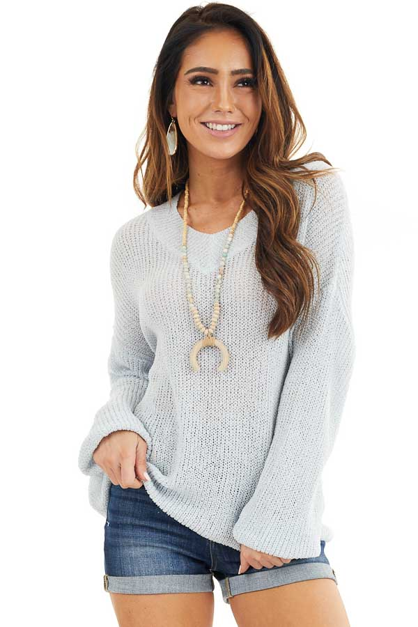 Light Blue Long Sleeve Lightweight Sweater Top with V Neck front close up