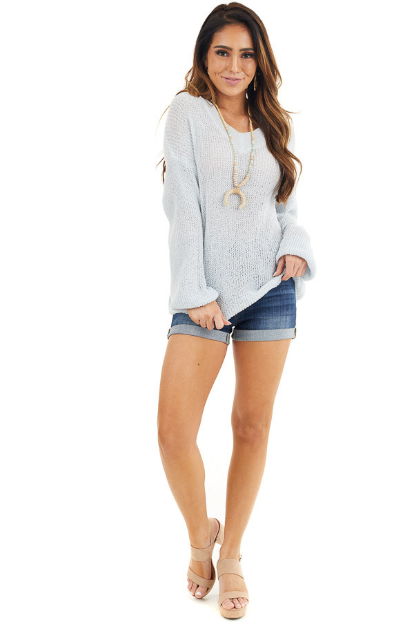 Light Blue Long Sleeve Lightweight Sweater Top with V Neck front full body