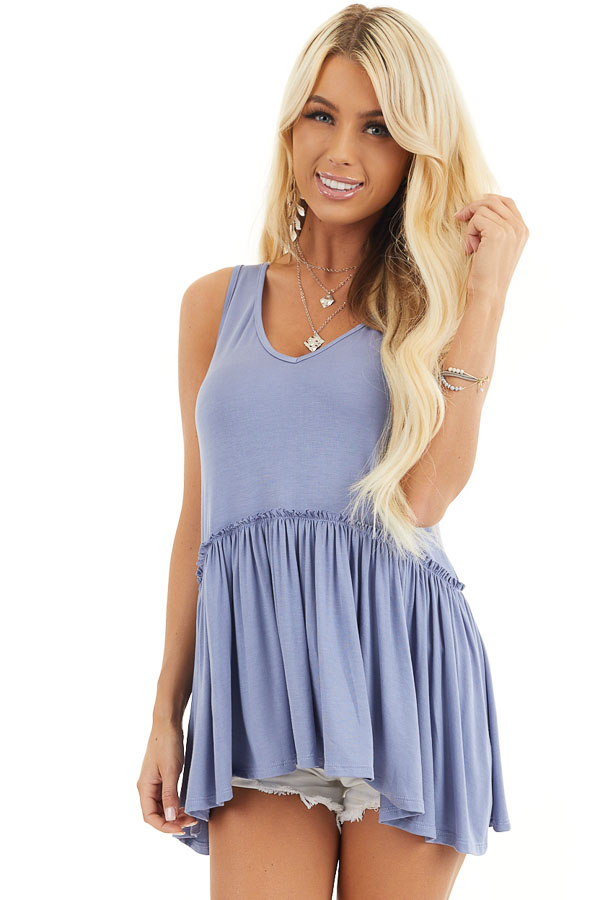 Dusty Blue Knit Tank Top with V Neckline and Drop Waist front close up