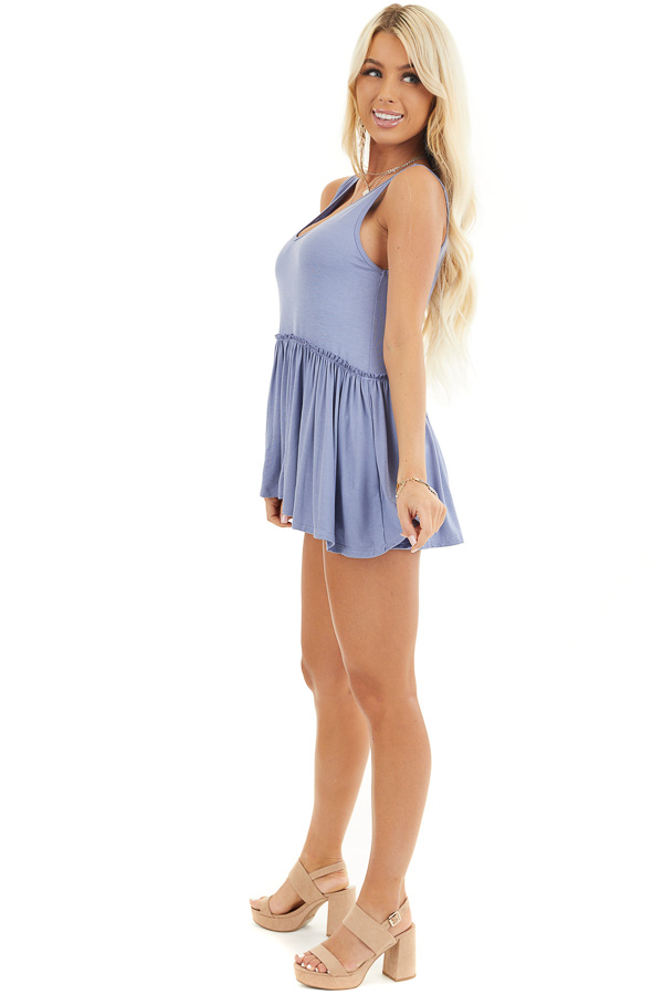 Dusty Blue Knit Tank Top with V Neckline and Drop Waist side full body