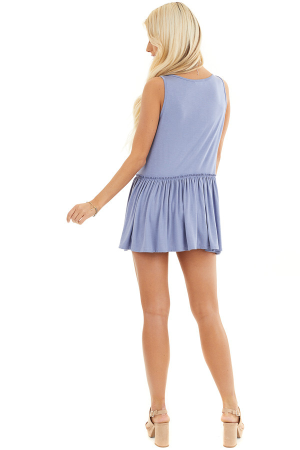 Dusty Blue Knit Tank Top with V Neckline and Drop Waist back full body
