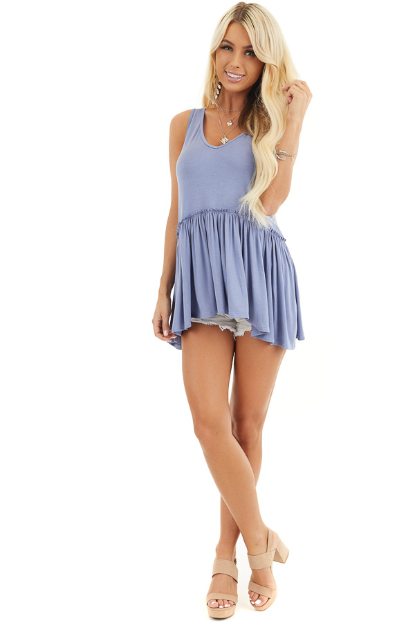 Dusty Blue Knit Tank Top with V Neckline and Drop Waist front full body