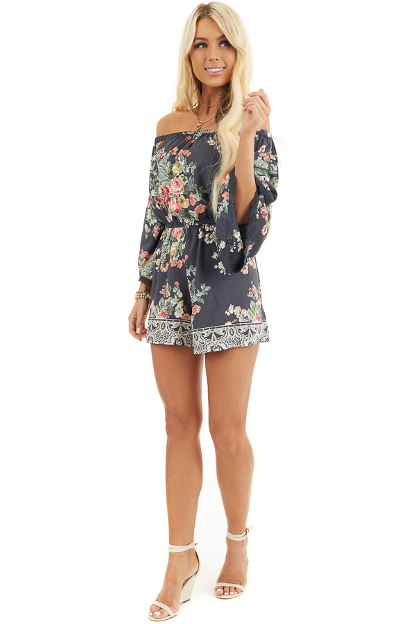 Stone Grey Floral Off Shoulder Romper with 3/4 Sleeves front full body
