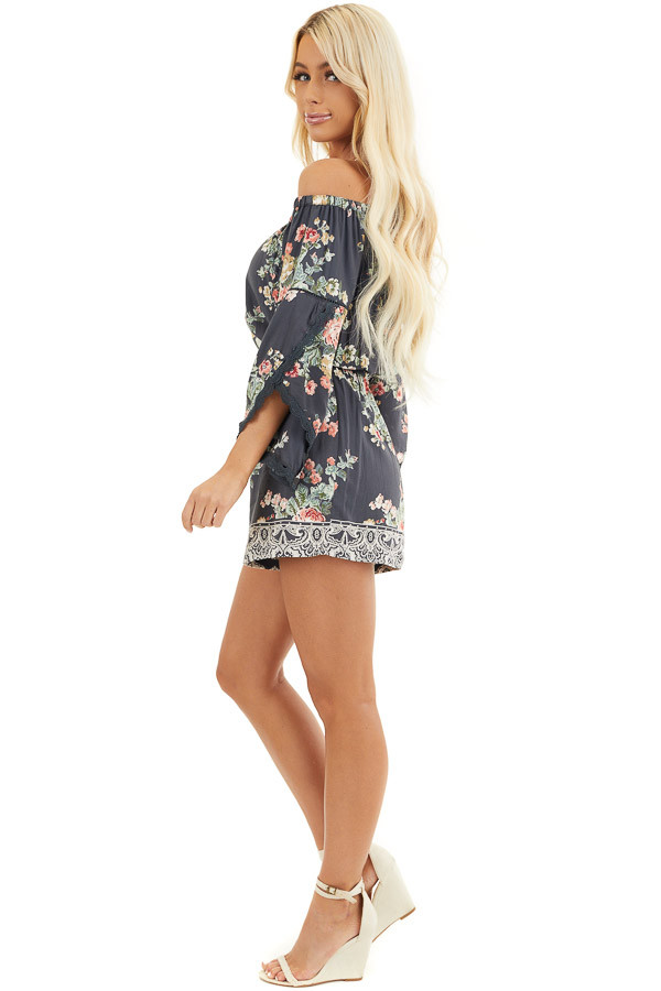 Stone Grey Floral Off Shoulder Romper with 3/4 Sleeves side full body