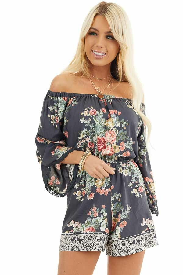 Stone Grey Floral Off Shoulder Romper with 3/4 Sleeves front close up