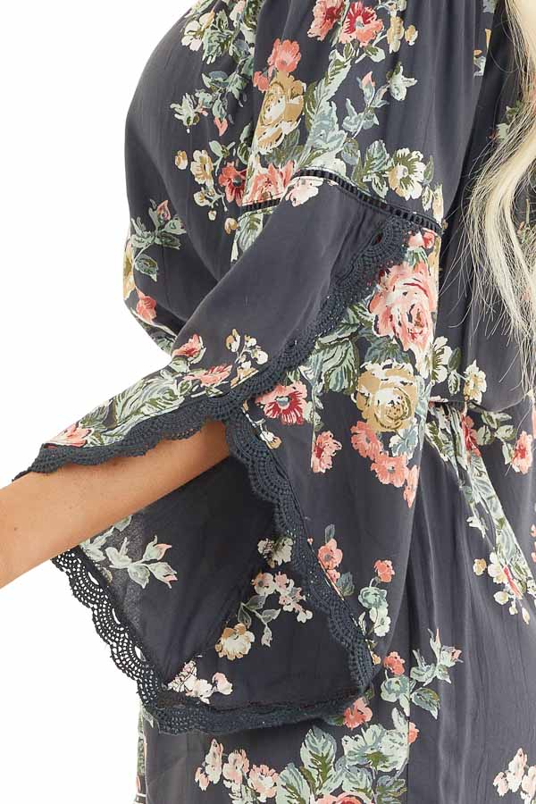 Stone Grey Floral Off Shoulder Romper with 3/4 Sleeves detail