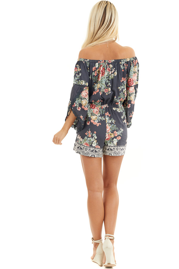 Stone Grey Floral Off Shoulder Romper with 3/4 Sleeves back full body