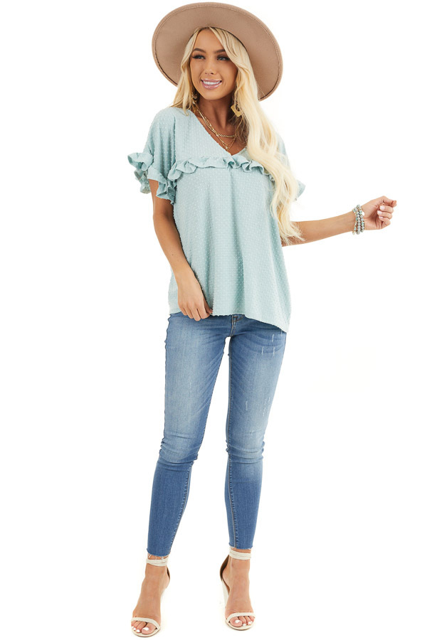 Sage Green Swiss Dot Top with Short Sleeves and Ruffles front full body