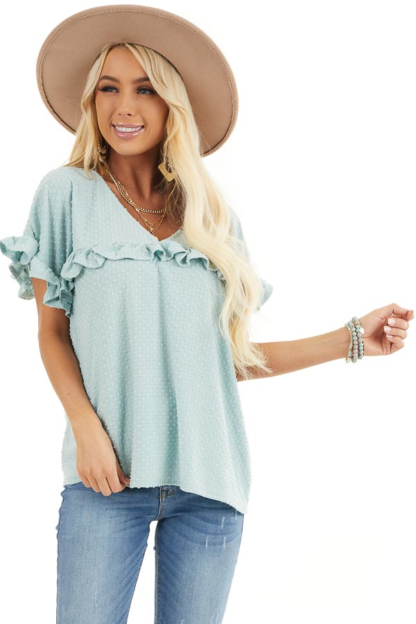 Sage Green Swiss Dot Top with Short Sleeves and Ruffles front close up
