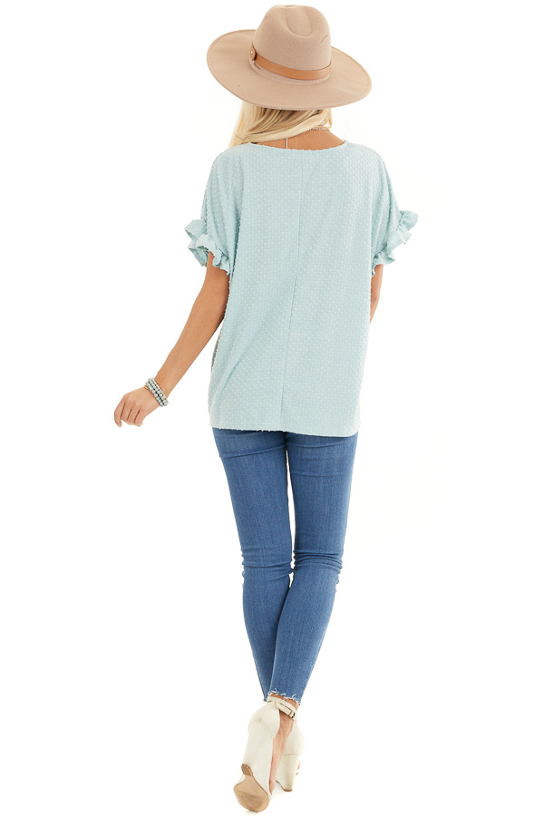 Sage Green Swiss Dot Top with Short Sleeves and Ruffles back full body