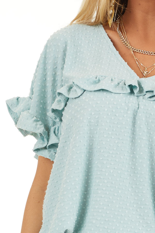 Sage Green Swiss Dot Top with Short Sleeves and Ruffles detail