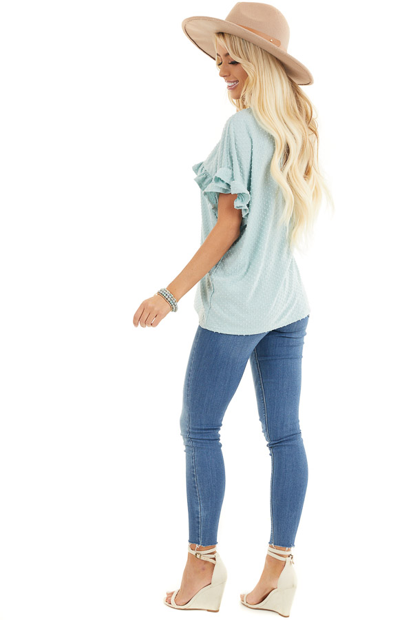 Sage Green Swiss Dot Top with Short Sleeves and Ruffles side full body