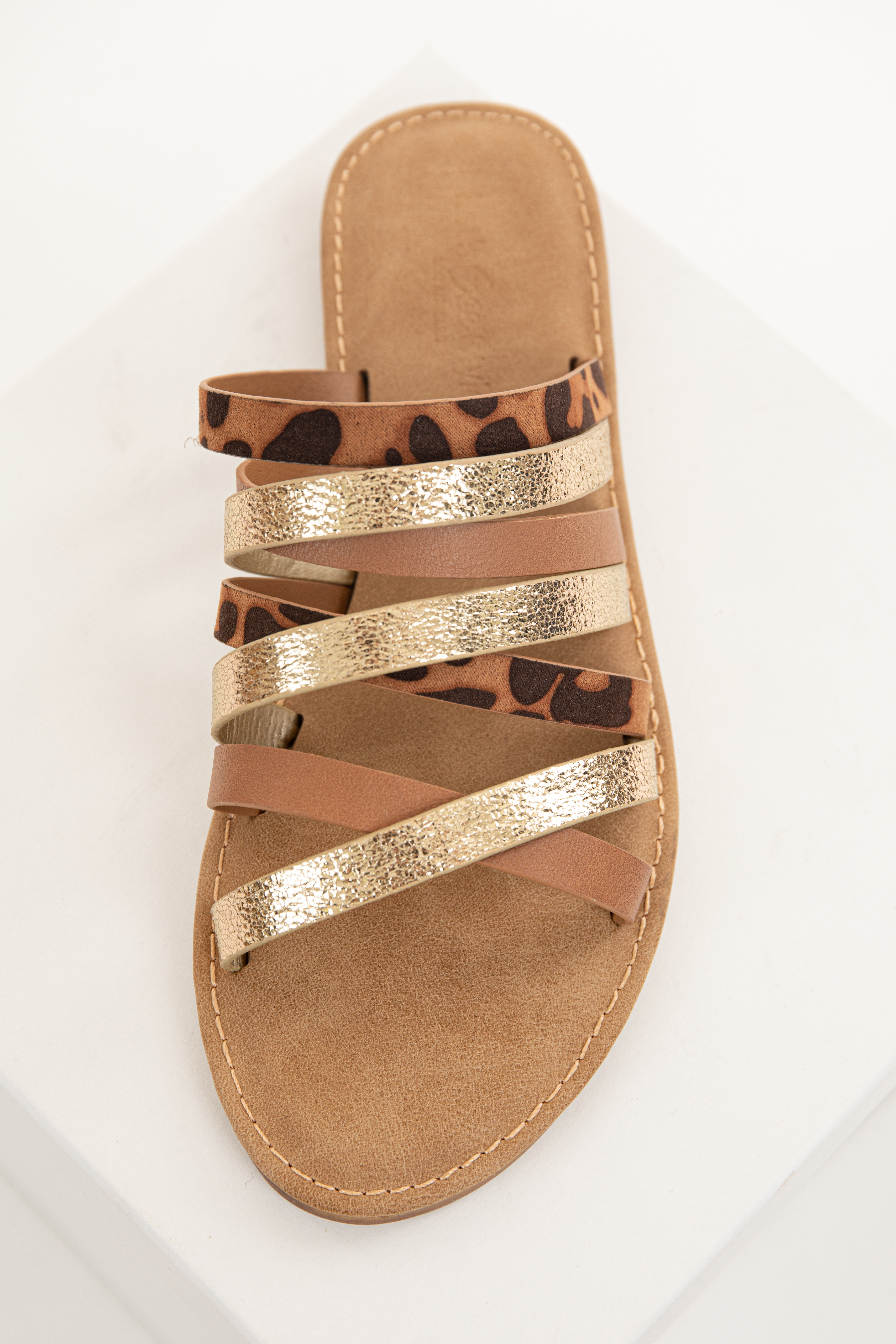 Gold and Leopard Print Multi Strap Slip On Sandals