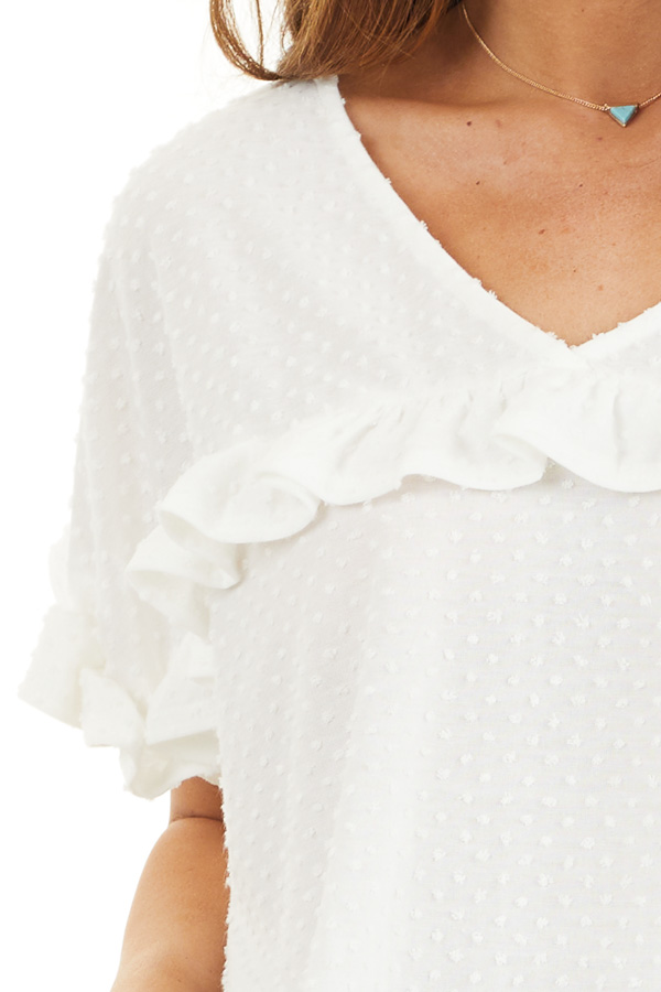 Ivory Swiss Dot Top with Short Sleeves and Ruffles detail