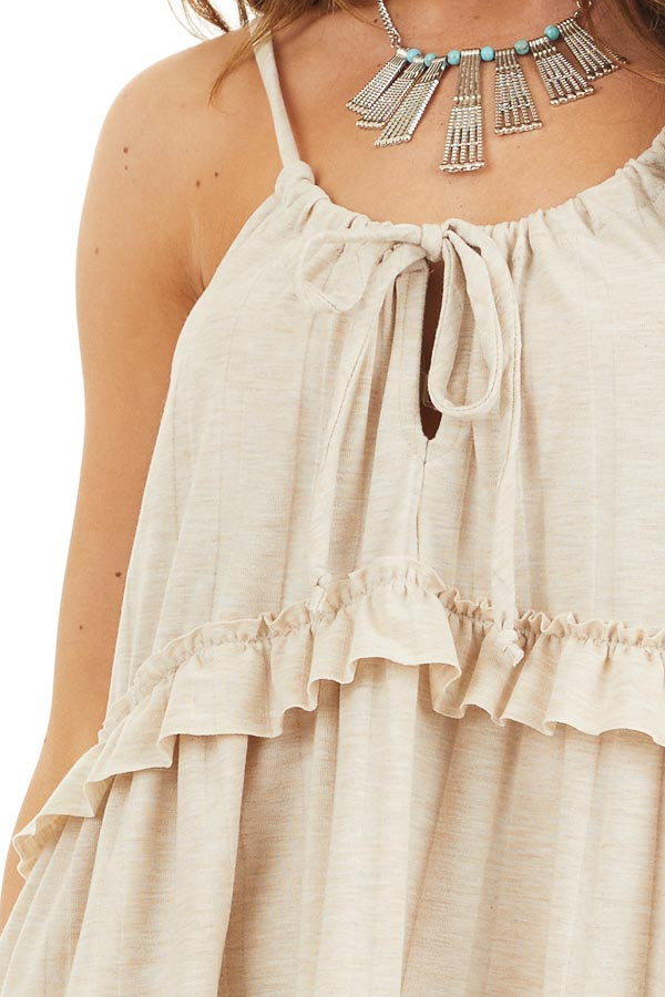Oatmeal Short Dress with Ruffles and Adjustable Straps detail