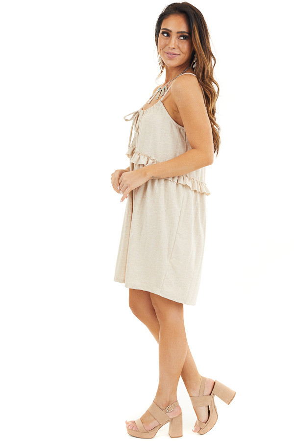 Oatmeal Short Dress with Ruffles and Adjustable Straps side full body