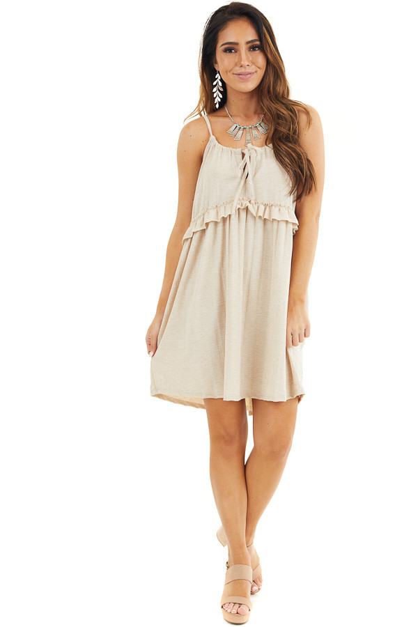 Oatmeal Short Dress with Ruffles and Adjustable Straps front full body