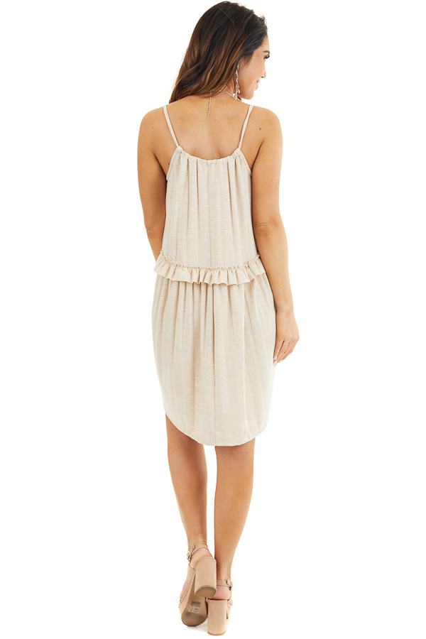 Oatmeal Short Dress with Ruffles and Adjustable Straps back full body