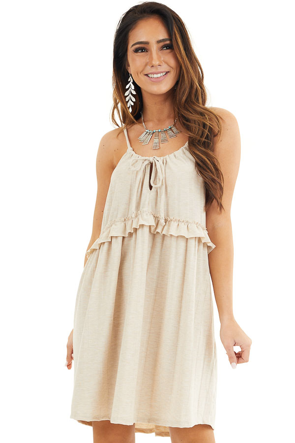 Oatmeal Short Dress with Ruffles and Adjustable Straps front close up