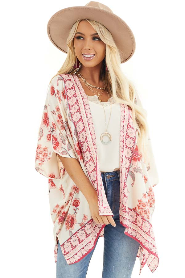 Ivory and Baby Pink Floral Kimono with Short Dolman Sleeves front close up