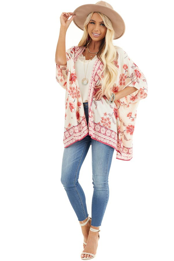 Ivory and Baby Pink Floral Kimono with Short Dolman Sleeves front full body