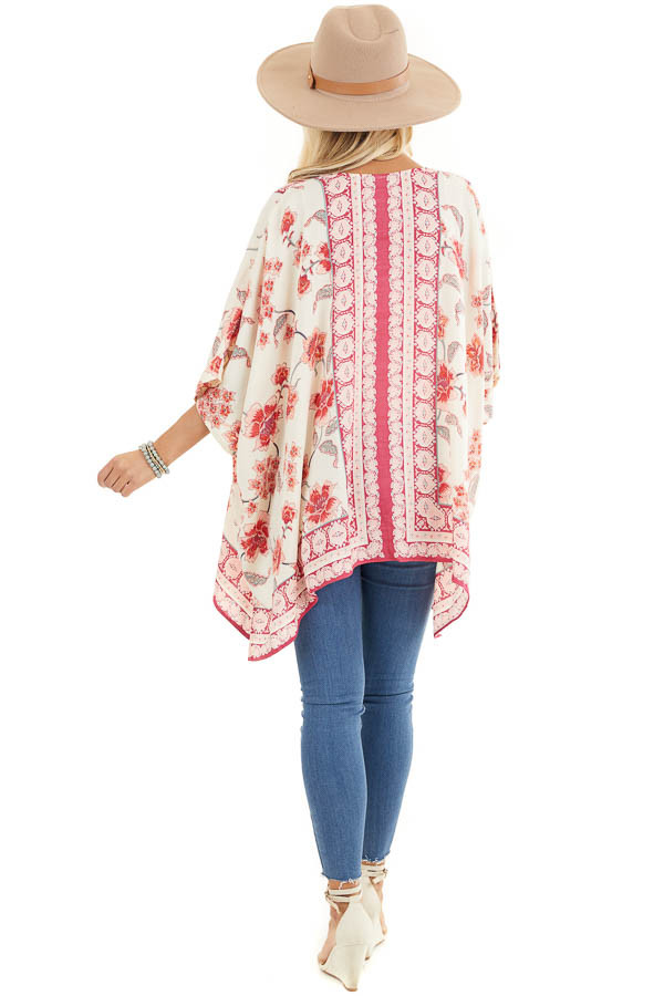 Ivory and Baby Pink Floral Kimono with Short Dolman Sleeves back full body