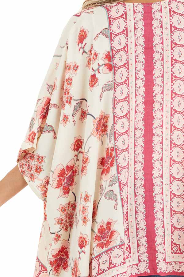 Ivory and Baby Pink Floral Kimono with Short Dolman Sleeves detail