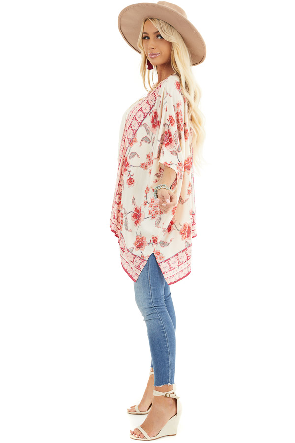 Ivory and Baby Pink Floral Kimono with Short Dolman Sleeves side full body
