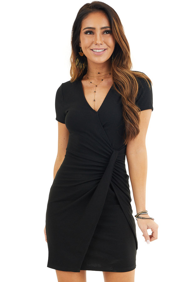 Black Ribbed Bodycon Dress with Front Twist Detail front close up