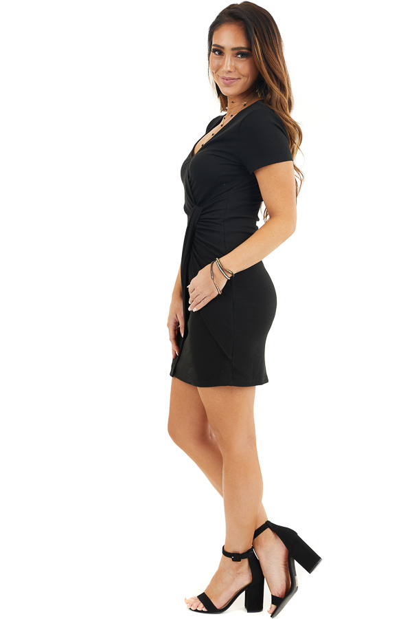 Black Ribbed Bodycon Dress with Front Twist Detail side full body