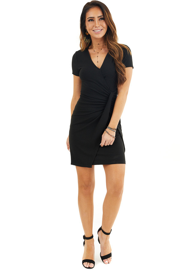 Black Ribbed Bodycon Dress with Front Twist Detail front full body