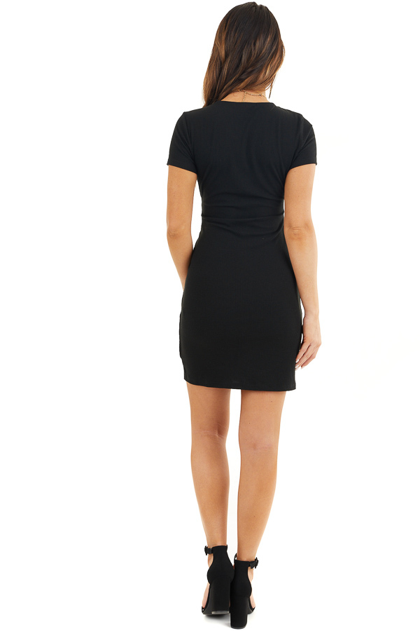 Black Ribbed Bodycon Dress with Front Twist Detail back full body
