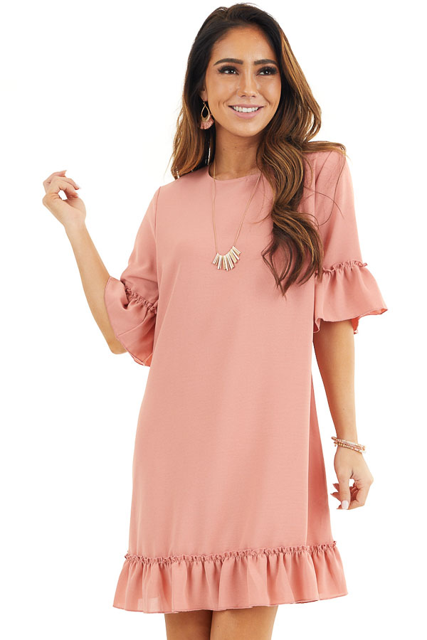 Salmon Shift Dress with Ruffle Details and Short Sleeves front close up